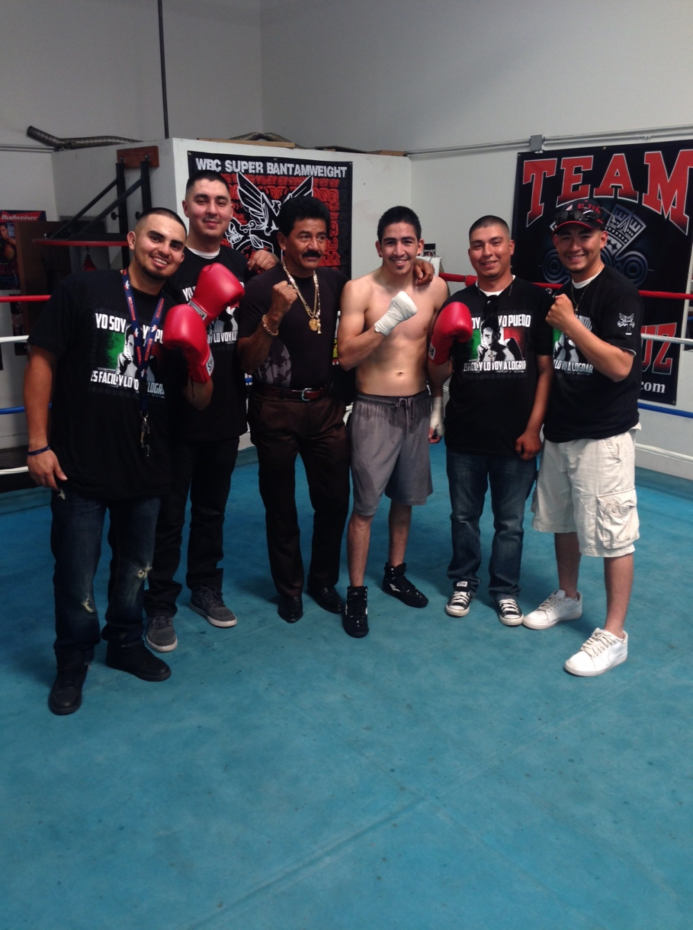 Leo Santa Cruz with fans at Who's Next Boxing, photograph courtesy of MT Boxing