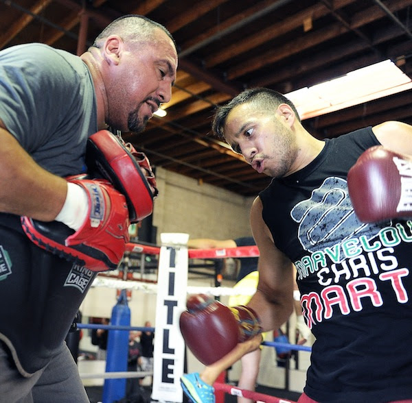 Chris Martin and trainer Joe Vargas, photo credit: Carlos Baeza and Thompson Boxing Promotions